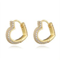 Hoop & Huggie Hip Hop Heart Ear Ring Design Earrings For Women Men Brilliant CZ Dangle Inlaid Accessories Top-quality Jewelry