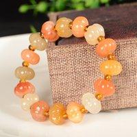 Naturlig färg jade 10mm pumpa pärlor armband jadeit smycken mode charm tillbehör handskuren lyckliga amulet gåvor kvinnor