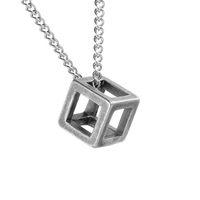 Collier de pendentif de charme cube creux simple carré en acier inoxydable, collier de cube 3D, collier pendentif cubique creux, bijoux géométriques, collier minimaliste