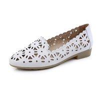 Puntig ademend holle lederen sandalen Summe mode platte ondiepe wilde vrouwen schoenen casual