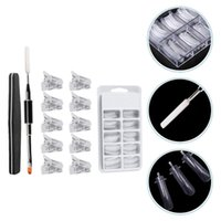 Nail Art Kits 1 Set Manicure Extension Nails Free Paper Crystal Molds (White)
