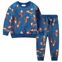 Little Maven Kinder Sets Neue Frühling Baumwolle Marke Langarm Tier Druck Hemd + Animal Print Pants 201127