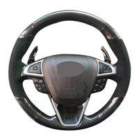 Araba Direksiyon Kapağı El-Dikişli Yumuşak Siyah Karbon Fiber Mondeo Füzyon için Süet 2013-2021 / kenar 2021-2021 Kapakları