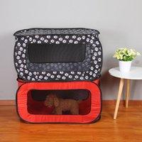 Portátil plegable rectangular tienda de mascotas perro jaula para perros Playpen cerca Puppy Kennel Cat Play Tents Tunnel transpirable Casa 2021 Portadores, Cajeras