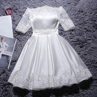 Ethnic Clothing White Slash Neck Cheongsam Flower Appliques Short Prom Party Dress Gown Bandage Pleated Qipao Lace Sleeve Luxury Robe De Soi