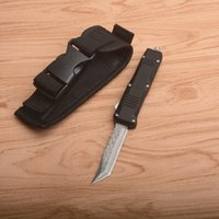 On Sale! C07 Automatic Tactical Knife VG10 Damascus Steel Blade Zn-al Alloy Handle EDC Pocket Knives With Nylon Bag