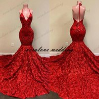 Sexy Evening Dress Red Backless Halter Deep V Neck Lace Appliques Mermaid Prom Gowns Rose Ruffles Formal Occasion Party Wear