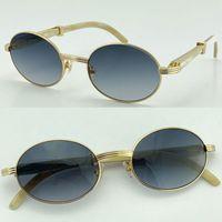 Vendendo Branco Genuine Natural Original Preto Búfalo Chifre Sunglasses 7550178 Óculos de sol do vintage por atacado 18k ouro de boa qualidade c
