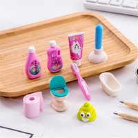 30 sets 120pcs Cute Bathroom Set Pencil Erasers for Office School Creative Stationery Supplies Correction Tool Kawaii Kids Prize Gifts eraser lot