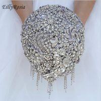 Wedding Flowers Luxury Full Jewelry Bouquet Silver Waterfall Sequined Tassel Elegant Brooch Bridal Sparkly Arrival
