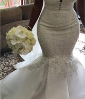 Sexy Long Mermaid Bridal Dress Sleeveless Elegant Appliques Lace Wedding Dresses African Gowns with Custom Made