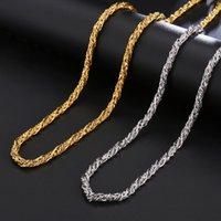 2021 di alta qualità 4mm oro argento 360L collana in acciaio inox collana catena uomo bizantino scatola gioielli 621 Z2