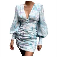 Casual Dresses 2021 Sexy Women Ladies Evening Party Flower Dress Prom Ball Mini Long Puff Sleeve Slim Club Ruched