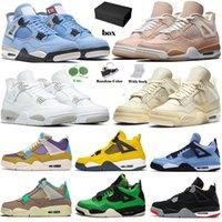 أحذية Nike Air Jordan Retro 4 off white Sail 4s WITH Box Original Men حذاء كرة السلة Jumpman Aj Jordans IV Travis Scott Purple Cactus Jack أحذية رياضية للرجال والنساء المدربين