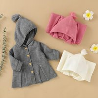 Jackets 0-24M Born Baby Girl Long Sleeve Solid Color Knitting Hooded Sweater Jacket Outwear Warm Children Clothes