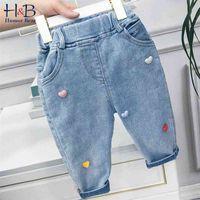 Humor Bear Girls 'Pocket Jeans Primavera Otoño Mid-cinturón Pantalones Ropa deportiva coreano Amor moda casual niños pantalones 210317