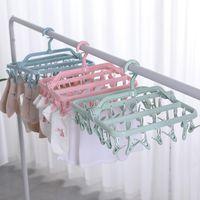 Gancho de cabides 32 clipes prendedor de roupa de plástico de plástico folhas dobrável cueca sutiã calcinha pendurado grampo chapéus toalhas roupas de bebê pegs secar ra