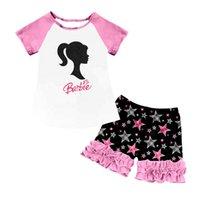 Vêtements d'été Mignon Pink Baby Petites filles Set En Gros Tenues à manches courtes Raglan Top Glafe Court Voleurs Boutique Ensembles de vêtements