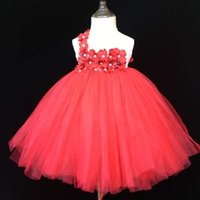 Girl's Dresses Girls Red Tutu Dress Kids Fluffy Single Shoulder Tulle Ball Gown With Pearl Flower Headband Children Wedding Party