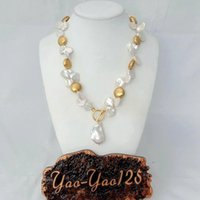 YYGEM 18'' top-drilled White Keshi Pearl 24 K Gold color Plated Coin Bead Necklace Pendant for women