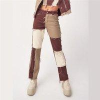 2021 ins otoño patchwork pantalones vaqueros alta cintura recta pantalones de mezclilla recto mujeres casual flaco rasgado capris bolsillo pantalones largos señoras streetwear mujer