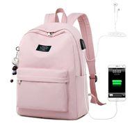 Massivfarbdruck Laptop-Rucksack für Mädchen USB-Aufladung Tier Anhänger Kinder Schultaschen Weibliche Reise Mochila-Tasche 4.9 201114