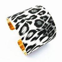 Alloy Fashion Bohemian Faux Leather Leopard Print Bracelet For Women Jewelry Exaggeration U-shape Bangle