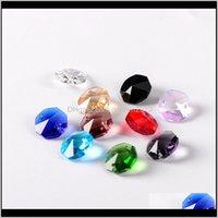 Outras Decoração de Casa 14mm Octagon Beads em 2 furos Cortina Pingente Candelabro para Sparkle DIY Cristal Lâmpada Acessórios SLRSL FLOKJ