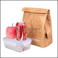 Armazenamento Housekee Organização Home GardenStorage sacos Brown Kraft papel saco de almoço reutilizável Durable Durável Cooler Sack Ferramenta Househ