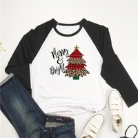 Women's T-Shirt European Style Women Shirts Christmas Long Sleeve T-shirts Woman Festival Tshirts Pullover Bottoming Tee