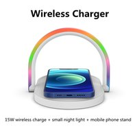 Newest Wireless charger small night light 15W quick chargers with mobile phone stand 3 in 1 table lamp