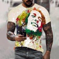 T-shirt da uomo 3D Rapper stampato Bob Marley T-shirt 2021 Summer Fashion Breve personalità a maniche corte Unisex Top hip-hop abbigliamento