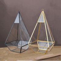 مصغرة زجاج تررم المزهريات هندسية الماس سطح المكتب حديقة الغراس داخلي الدفيئة النضرة النباتات ديكور المنزل YHM199-ZWL