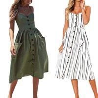 Casual Dresses Women Summer Dress 2021 Vintage Sundress Boho Sexy Midi Button Backless Beach Polka Dot Striped Floral Female