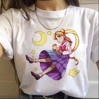 Sailor Moon Tops para mujer Anime Harajuku Ulzzang T Shirt Femenino Cat Cat Kawaii 90s Estilo coreano de la tee