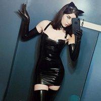 Abiti casual Jane Deiune Autunno Donne PU Sexy Mini Skinny Black Leather Dress Abito con guanti Lady Spaghetti Spaghetti Strap Vita alta
