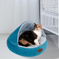 Cat Beds & Furniture Winter Warmer Bed House Kitten Lounger Cushion Small Pets Sleeping Tent Washable Dogs Basket Cave Foldable Puppy Kennel