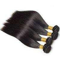 Paquetes de cabello humano de onda corporal con cierre de 4x4, tejidos de pelo profundo, tejidos de cabello humano brasileño, color natural.