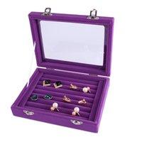 7 اللون المخملية الزجاج حلقة القرط مجوهرات عرض منظم مربع صينية حامل تخزين مربع T200917 873 Q2