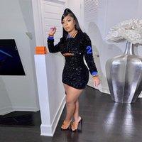 캐주얼 드레스 활주로 편지 자수 정각 복장 여성 패션 섹시한 긴 소매 bodycon 미니 클럽웨어 생일 의상