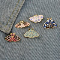 Women Insect Series Clothes Brooches Butterfly Moth Model Drop Oil Pins European Alloy Moon Eye Enamel Cowboy Backpack Badge Jewelry Accessories Wholesale