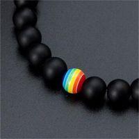 Pedra preta Pedra frisada pulseira gay arco-íris pulseira conciso orgulho amizade jóias melhor amigo chakra pulseira 4 w2