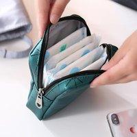 Storage Bags Multifunctional PU Leather Women Menstrual Rhombus Sanitary Napkin Organizer Portable Pad Bag Pouch Case