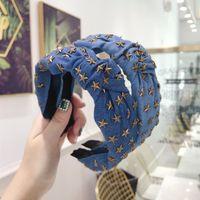 New Fashion Denim Headband Women Middle Knot Star Hairband Girls 3 Colors Blue Hair Accessories Adult Fashion Casual Headwear 1292 B3