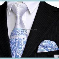 목 넥타이 패션 액세서리 E5 페이즐리 꽃 도트 화이트 Sier 네이비 블루 Azure Mens Tie 세트 넥타이 포켓 스퀘어 100 퍼센트 실크 박사