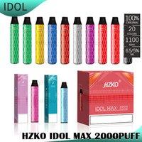 100٪ أصيلة HZKO IDOL ماكس المتاح جراب السجائر الإلكترونية جهاز كيت 1100mAh بطارية 2000 نفث 6.5 ملليلتر خراطيش vape xxl أعلى بيع