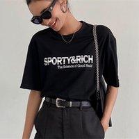Kadın T-shirt Sportif Mektup Baskılı Pamuk T Gömlek Ovesized O-Boyun Kısa Kollu 2021 Yaz Tops Y2K Estetik Kadın Moda Streetwear G Tops