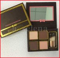 Maquillaje de cara Bronzers Resaltadores Kit de contorno Blush color desnudo 4 colores con cepillo cincelado a perfección Polvo prensado Paletas