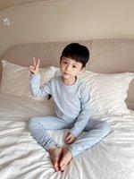 Automne 100% coton enfants pyjamas enfants filles garçons chemise à boutons longues + pantalon doux dormant 2pc / sets bébé de nuit vêtements vêtements