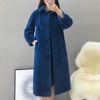 Women's Fur & Faux Women 2021 Winter Fashion Real Wool Long Clothing Female Natural Lamb Casual Coat Warm Loose Sheep Sheared Clothes A557